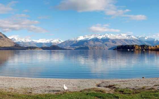 озеро, wanaka, new, zealand, панорамный, mountains, изображение, новая, горы,