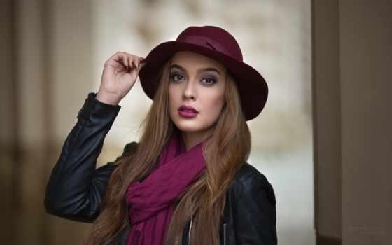шляпа, модель, помада, purple, шарф, кофта, long, волосы,