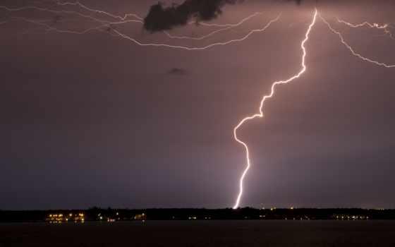 небо, lightning, ночь, молнии,