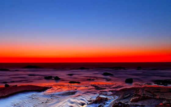 моря, берег, fone, закат, берегу, скалистый, море, небо, багряного, заката,