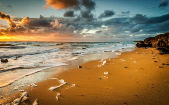 море, песок, пляж, waves, пенка, landscape, морскими, волнами,