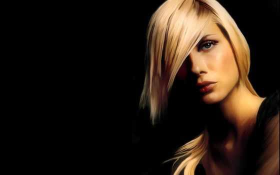 mulher, черном, fone, blonde, женский, não, ест, filha, рисунок,