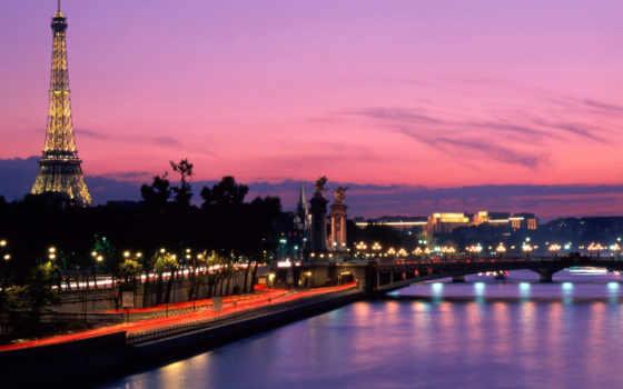 париж, ночь, франция, ночных, переездов, bez, bus, город, rook,