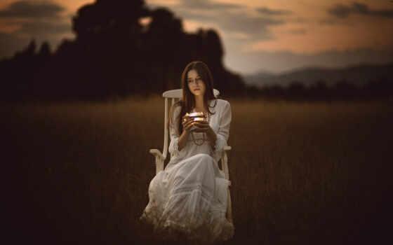 девушка, грустный, одиночка, even, осень, женщина, грусть, pic, смотреть, поле, love