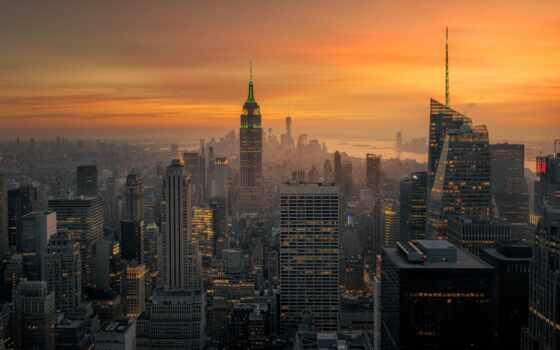 город, new, york, нью, закат, сша, urban, рассвет, building