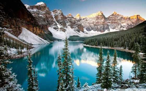 озеро, louise, морейн, moraine, banff, национальном, долине, канадский, парке, ледниковое,