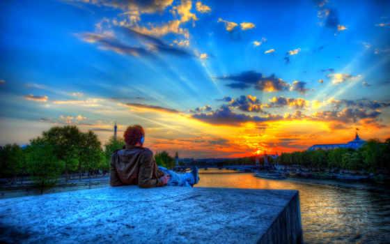 город, париж, закат, река, мужчина, turret, hdr, небо, trees, kexb,