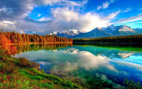 горы, облака, озеро, лес, радуга, небо, nature, картинка,