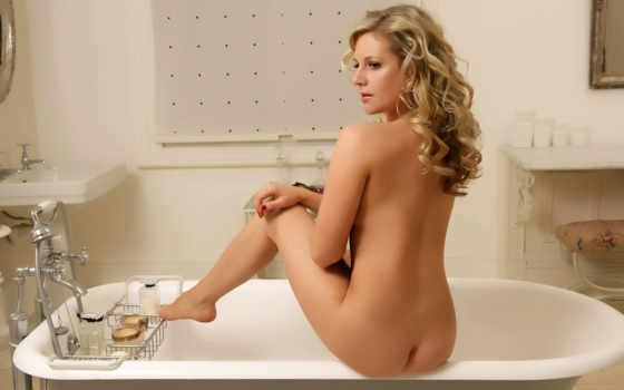 голая, попка, ванная