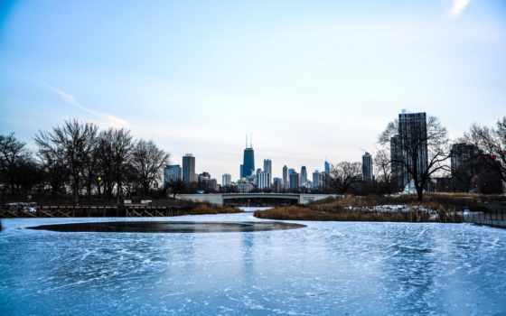 лед, река, город