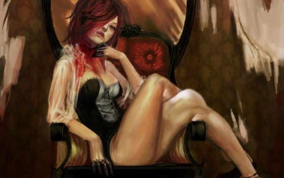 кровь, девушка, волосы, красные, corset, кресло,