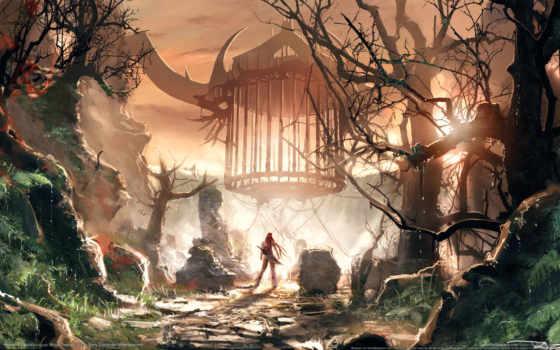 природа, fantasy, trees, клеточка, девушка, воин,