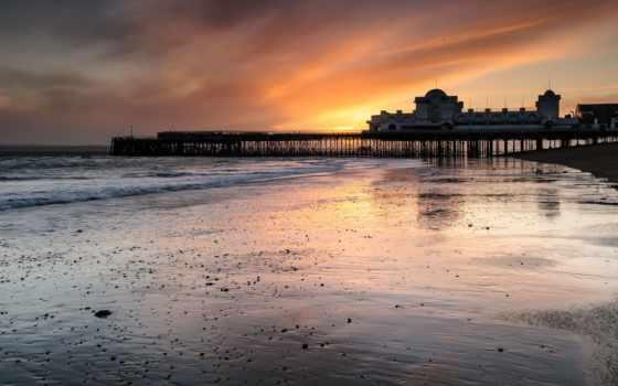 море, природа, берег, закат, великобритания, pier, ук, мост, landscape, lighthouse, спокойствие,