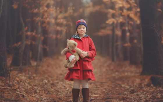 медведь, девушка, teddy, осень, toy, this, лес,