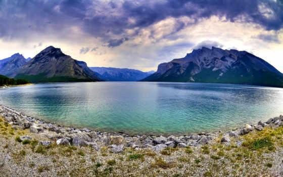 озеро, пейто, канада, minnewanka, природа,