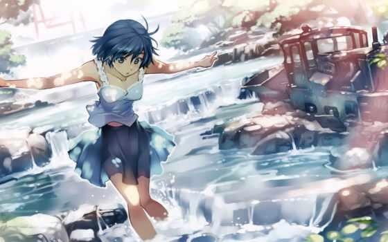 anime, девушка, water