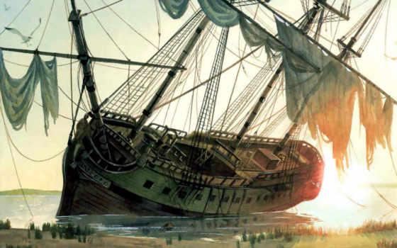 корабли, парусные, старинные, картинка,