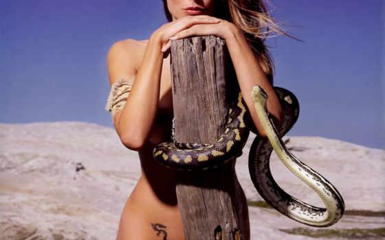 girls, snake, мох