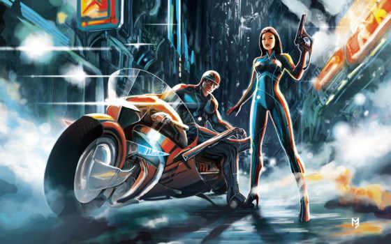 девушка, парень, мотоцикл, город, ночь, супер, оружие, фантастика, art, devushki, police,