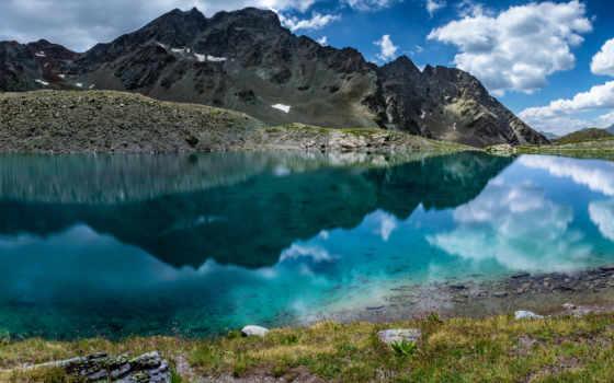 красивые, горы, панорама, озеро, красиво, swiss, снег, картинка, гладь,
