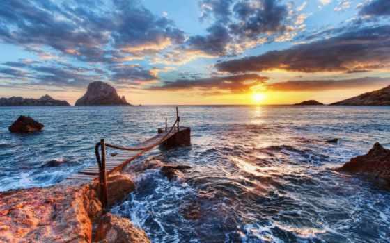 красивые, sun, побережье, море, рассвет