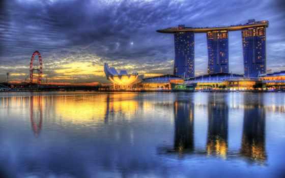 марина, hotel, bay, singapore, колесо, обозрения, hdr, река, shanghai, piscine,
