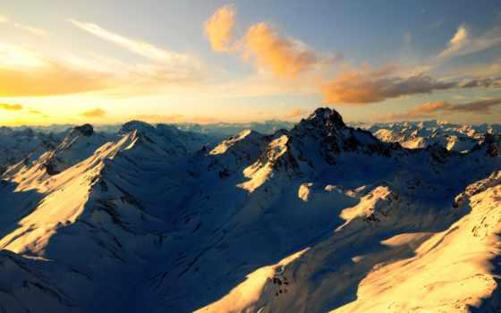 горы, снег, oblaka, вершины, sun, природа, скалы, небо,