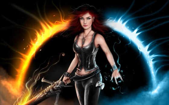 девушка, воин, fantastic, меч, les, hot, pin, дракон