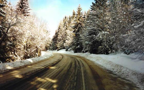 winter, дорога, desktop
