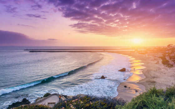 сша, рассвет, закат, мар, del, crown, ocean, море, мира, california,