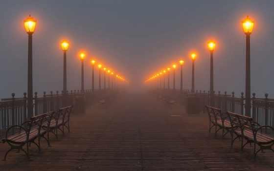 мост, туман, фонари, ночь, улица, города, lantern, река,