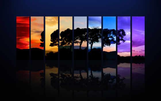креативные, креатив, trees, фотоколлаж, под, названием, вечером, горные, горы,