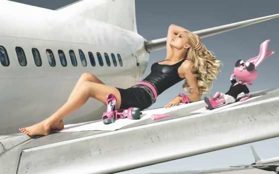 самолета, девушка, крыле, зайцем, отдыхают, devushki, крыло,