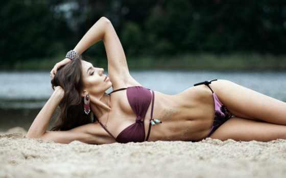, девушка, пляж, песок, купальник,