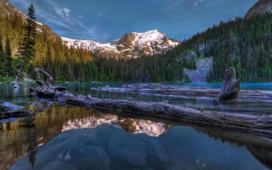 канада, горы, озеро, природа, отражение, канадский, fond, пейзажи -, trees, paysage,