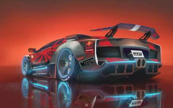 concept, art, car, cyberpunk, red, bull, vehicle, neon, illustration, тварь, космос
