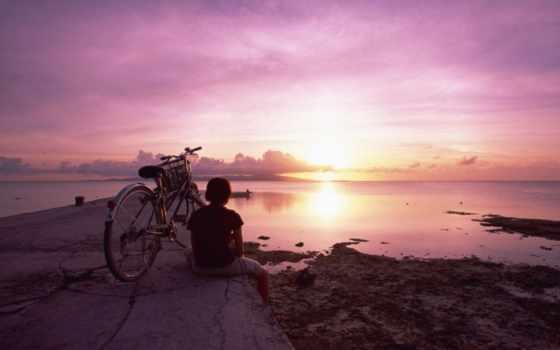 девушка, велосипед, закат
