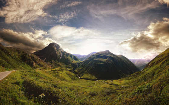 красивый, взгляд, горы, дорога, закат, дек, zaker,