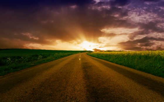 дорога, горизонт, уходящая, поле, широкоформатные,