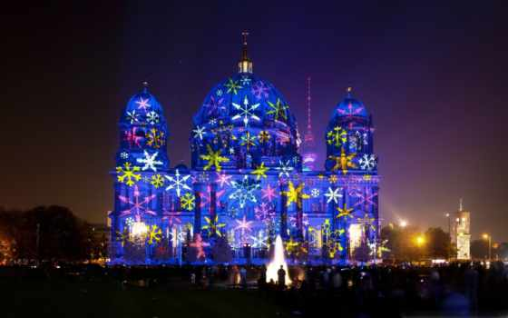 berlin, festival, огни, свет, cathedral,