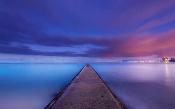 hawaii, ocean, побережье, сша, ночь, берег, спокойствие, usa, облако