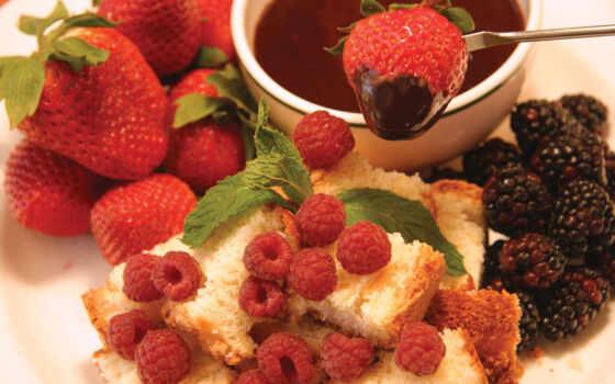 chocolate, fondue, myat, яркий, красивый, малина, клубника, торт, сладкое