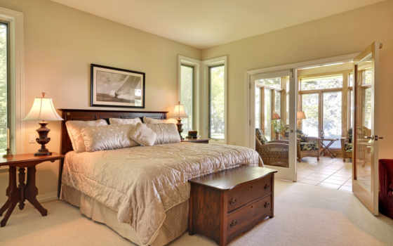 интерьер, спальня, кровать, комод, терасса,