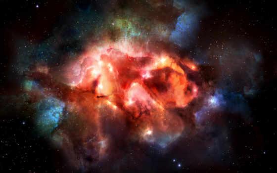 туманность, созвездие, звезды, монитора, космическим, уклоном, universe, antetum, картинка,