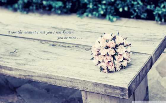 букет розовых роз на лавке