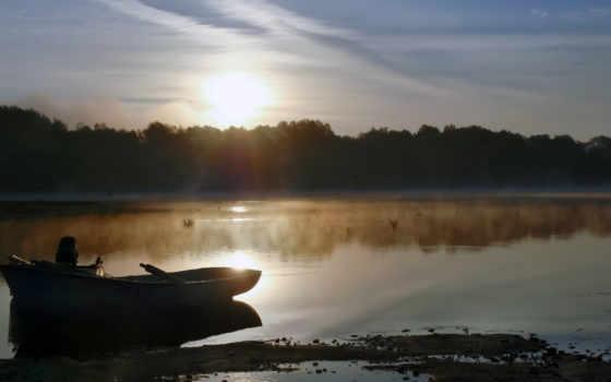 озеро, лодка, утро