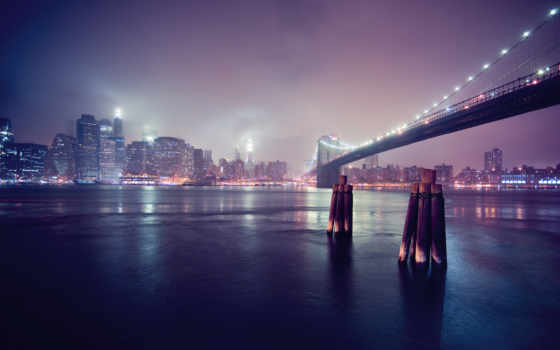 залив, мост, город