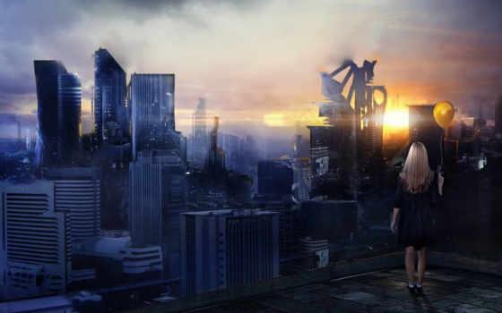 девушка, город, дома, девушке, города, смотрит, сверху, большой,