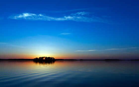 закат, desktop, blue