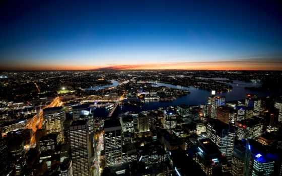 город, ночь, sydney, австралия, панорама, взгляд,